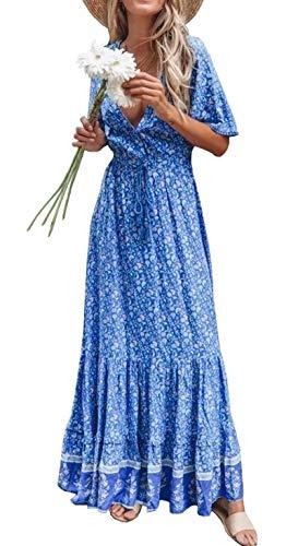 R.Vivimos Womens Summer Cotton Short Sleeve V Neck Floral Print Casual Bohemian Midi Dresses (Large, Blue)