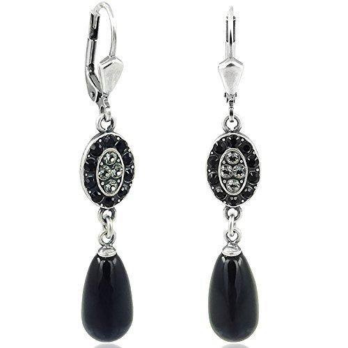 Jugendstil Ohrringe mit Kristallen von Swarovski Silber Schwarz NOBEL SCHMUCK