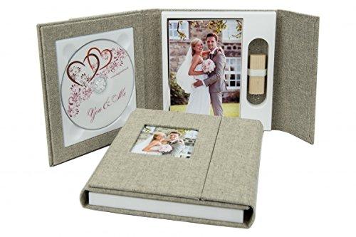 Bruiloft DVD/USB-case met fotobox. Linnen stof grijs