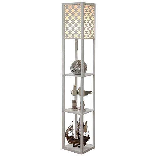 Oujie staande lamp woonkamer, Noors van hout hoge voet staande lamp opslag rooster sofa licht, tafellamp E27 nachtkastje slaapkamer, wit (26 cm * 26 cm * 160 cm)