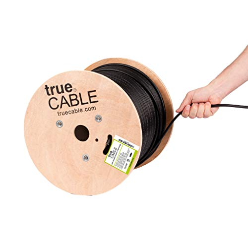 trueCABLE Cat6 Outdoor W/Messenger, Shielded FTP, 500ft, UV, Aerial, CMX, Black, 23AWG Solid Bare Copper, 550MHz, ETL Listed, Bulk Ethernet Cable