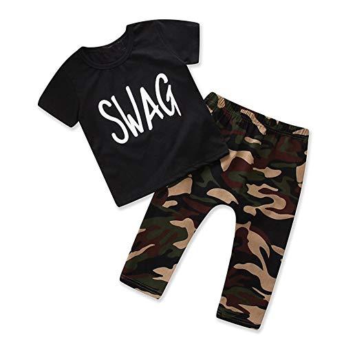 LENGIMA 2 Piezas de la Camiseta del Swag de Las Muchachas de los bebés de los niños del niño con el Sistema de la Ropa de Las Bragas del Camo (Color : Black, Size : 1-2y)