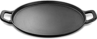 """Legend Cast Iron Pizza Pan   14"""" Steel Pizza Cooker with Easy Grip Handles   Deep Stone for Oven or Griddle for Gas, Induction, Sauteing, Grilling   Lightly Pre-Seasoned Cookware Gets Better with Use"""