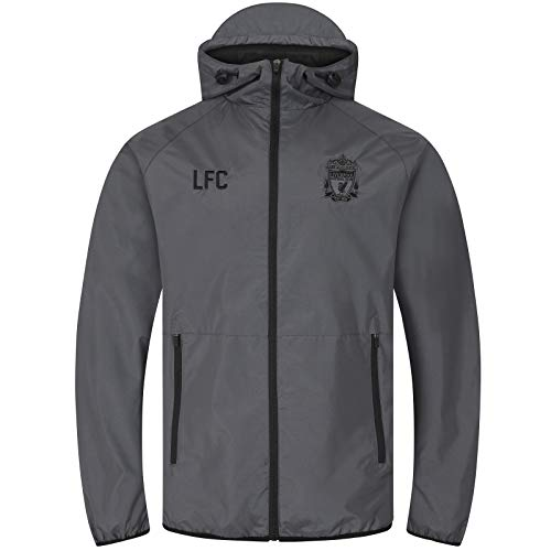 Liverpool FC - Herren Wind- und Regenjacke - Offizielles Merchandise - Grau - Kapuze mit Schirm - 3XL