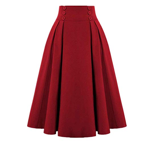 Falda midi de cintura alta para mujer, estilo vintage, elástica, color negro, verde, con bolsillo - rojo - X-Large