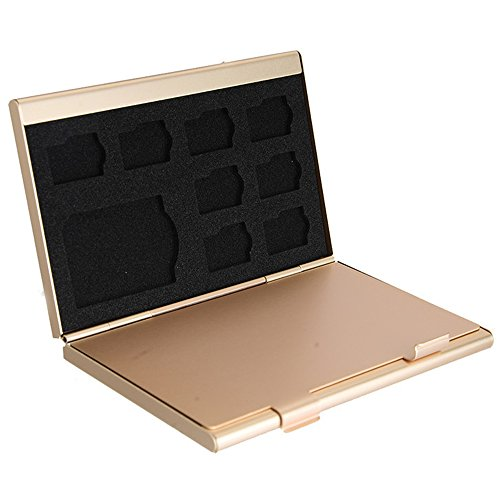Caja de Almacenamiento deTarjeta de Memoria de Aluminio Caja Protectora. Sostiene 4 x Tarjetas SD, 8 x Tarjetas Micro SIM (Oro)