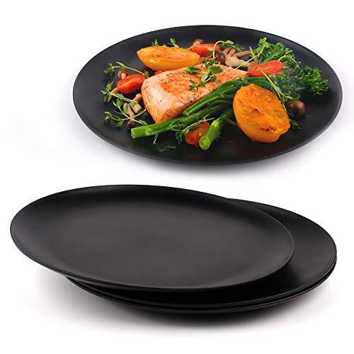 Platos negros de cocina, platos negros mate, platos modernos, aptos para lavavajillas, vajilla irrompible, fibra de bambú, 25 cm, juego de 4 platos, sostenibles, redondos, reutilizables