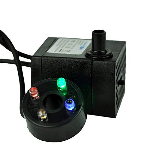UKCOCO 3W Tauchpumpe- Tauchwasserpumpe mit 4 bunten LED- Lichtern 0, 55- Meter- Hebebühne Einstellbare Wasserdurchflussbrunnenpumpe für Aquarium, Teich, Hydroponik