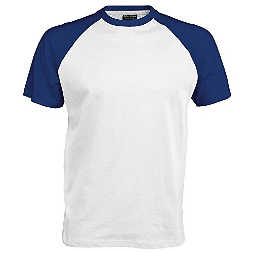 Kariban–Camiseta de manga corta para hombre Bianco/Blu reale Medium