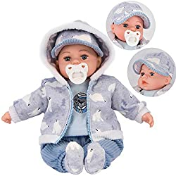 """18"""" DOLL - This is beautiful soft-bodied boy doll with open eyes, soft trendy clothes 12 BABY SOUNDS & DUMMY - He makes 12 baby sounds and comes with a dummy REALISTIC LOOKING - Cute and realistic looking, it is perfect for pretend play LUXURY OUTFIT..."""