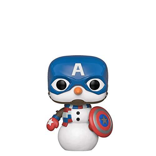 Funko - Pop! Bobble Vinyle Marvel: Holiday - Captain America Figura Coleccionable, Multicolor (43335)