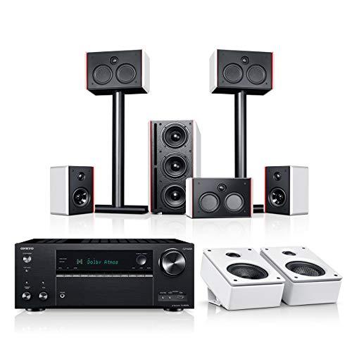Teufel System 4 THX AVR für Dolby Atmos 5.1.2-Set Weiß / Weiß / Schwarz Heimkino Lautsprecher 5.1 Soundanlage Kino Raumklang Surround Subwoofer