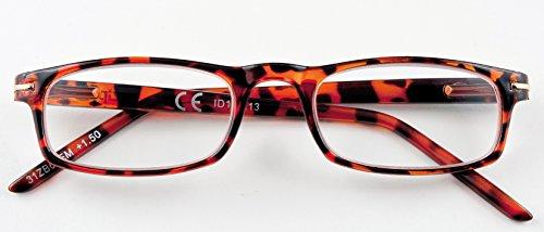 Leesbril heren dames unisex bruin + 1.50 dioptrie 31Z-B6-DEM bril 1.5 dioptrie voorgemonteerd voor Presbiopia, polycarbonaat frame en Flexsystem