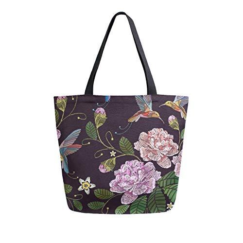 Ahomy Wiederverwendbare Einkaufstasche aus Segeltuch, Rosen-Blatt, Kolibri, für Damen, Einkaufstasche, Arbeit, Schule