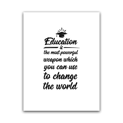 Education Is The Most Powerful Weapon Teacher Poster Wall Art, Appreciation Gift, High Middle Elementary School Print, Funny Classroom Quote, Best Principal Large Artwork Big Nordic Home Deco 8.5x11