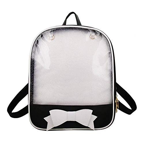 Ita Bag Backpack Girls Cute Candy Leather Bag Purse School Bag Summer Beach Bag Purse with Bowknot Transparent Windows for DIY Decors Black/White