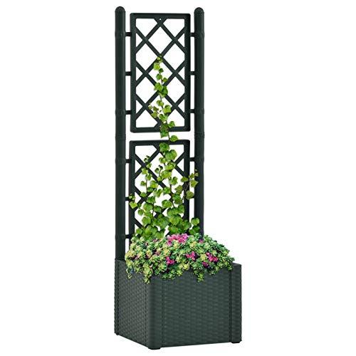 Tidyard Fioriera con Grigliato in Plastica da Giardino Vaso per Piante Rampicanti, 35 L, Fioriera da Esterno,43 x 43 x 142 cm,Verde