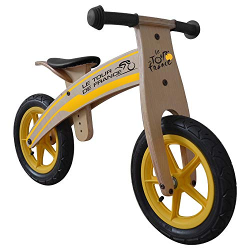 Tour de France Wood Running/Balance Bike, 12 inch Wheels, Kid's Bike, Wood Grain Color