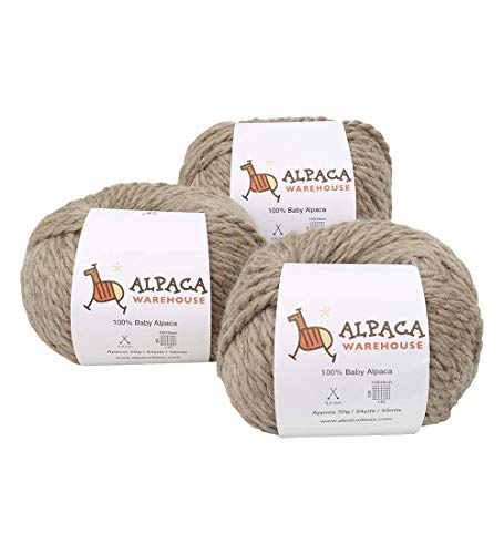100% Baby Alpaca Yarn Wool Set of 3 Skeins Lace Worsted Bulky/Chunky Weight - Heavenly Soft and Perfect for Knitting and Crocheting (Golden Yellow, Worsted Weight)