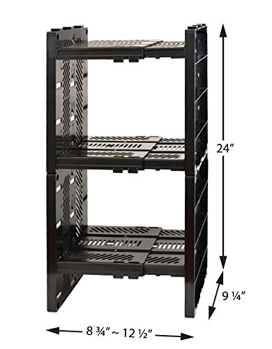 StorageMax Deluxe Locker Shelf, Locker Organizer with 3 Adjustable Shelves for Work and School Lockers, Black