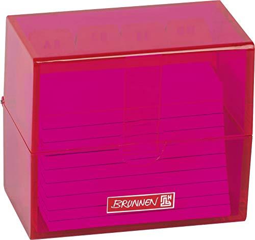 Brunnen 102058026 Karteikasten, 8, 5 x 7, 5 x 4, 8 cm (für A8 Karteikarten), Polystyrol, pink, Colour Code, 1026353595