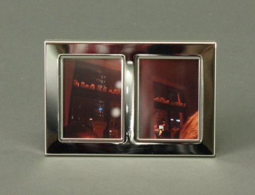Unbekannt Bilderrahmen Doppel- Bilderrahmen rechteckig Metall versilbert klassische Form