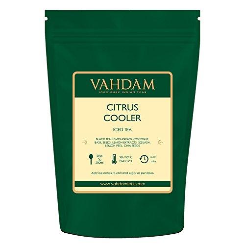VAHDAM, Citrus Cooler Eistee | 40 Portionen | 100{553147505e16f897ccf55c2d7c739b14eba3e5c6e26019ee1ff39b487ac2bdeb} natürliche Inhaltsstoffe | Köstlicher Geschmack von schwarzem Tee & Zitronen-Zitrusfrüchten | Zitronen-Eistee | Eistee Loseblatt | 100 g (2er-Set)