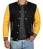 Decrum Black and Yellow Varsity Jackets for Men | [4908863] Plain Yellow Sleve, M