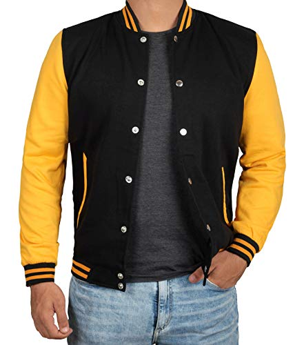 Decrum Black and Yellow Varsity Jackets for Men | Plain Yellow Sleve | M