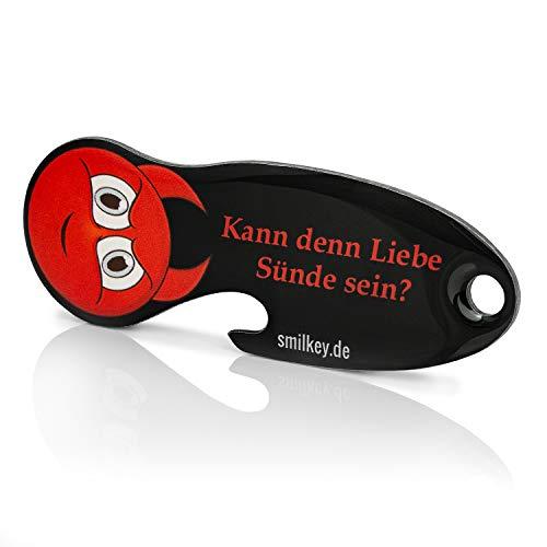 Code24 winkelwagenoplosser Smilkey 'Kan want Liebe Sünde zijn', sleutelhanger met winkelschip & sleutelvinder, incl. sleutelfundservice registreercode, winkelwagenchip met flesopener