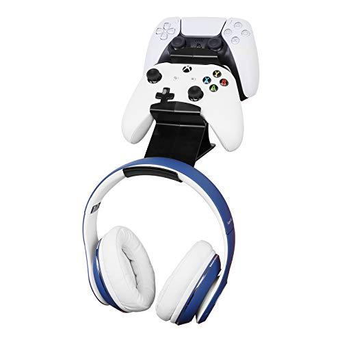 Schraubenloser Ständerhalter für Gaming Controller Gamepad & Kopfhörer, Desktop-Halterung für Gaming Bluetooth-Kopfhörer, Xbox ONE, PS4, PS5, Dualshock, Switch, PC, Steam-Serie
