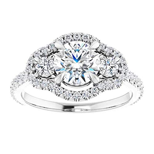 Gopi Gems Beautiful Victorian Halo Engagement Ring, Round 1.50CT, Colorless Moissanite Engagement Ring, 925 Sterling Silver Ring, Promise Ring, Wedding Ring, Perfact for Gift Or As You Want (V)