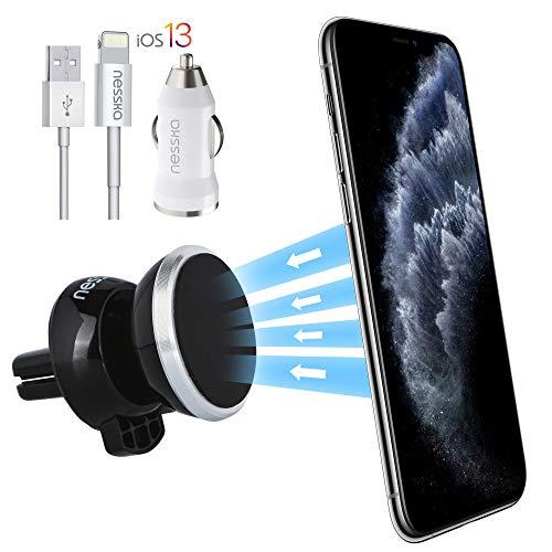 NessKa® Magnet Handyhalter fürs Auto Lüftung Handy Halterung + GRATIS KFZ Ladegerät USB Kabel Ladekabel kompatibel mit Apple iPhone 11 Pro XS Max XR X 8 7 6S Plus SE 5S 5 Handyhalterung | Silber