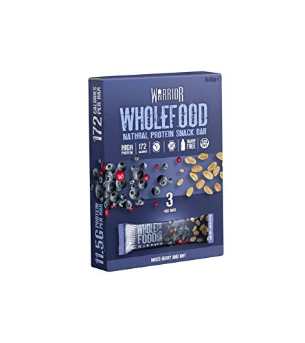 Warrior Wholefood Vegan Protein Bars - Mixed Berry Nut - Pack of 3 x 45g - Natural Snack Bars