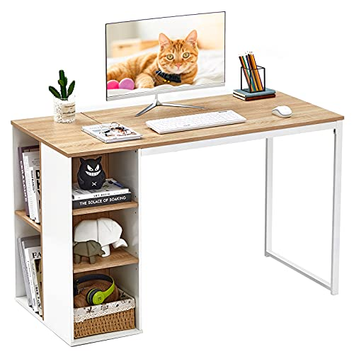 """Computer Desk with Storage Shelves 47"""" White Office Desk with Drawers Small Kids Writing Desk Student Study Table Modern Wood Pc Laptop Gaming Desk for Home Work, Splicing Oak with Metal Legs"""