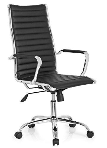 hjh OFFICE 660940 Profi Chefsessel VEMONA 20 Kunstleder Schwarz/Chrom moderner Bürostuhl mit hoher Rückenlehne