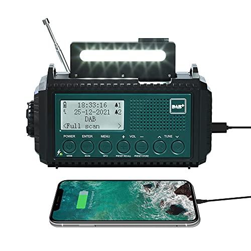 Radio Solar Dynamo DAB+/DAB/FM, Batteria 5000mAh e Power Bank USB, Radio Digitale Portatile con Manovella, Torcia a LED e Luce di Lettura, Allarme SOS, Impermeabile IPX4, per Escursioni, Campeggio