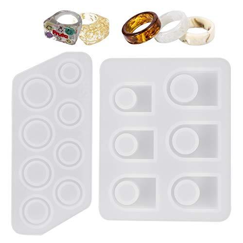 Queenromen 2 moldes de silicona con forma de anillo de resina, para manualidades, para moldear colgantes, para manualidades, para moldear joyas o manualidades