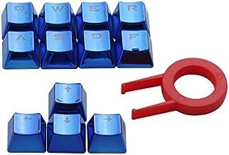 HUO JI E-Element PBT Double Shot Keycap Set - 12 Translucent Backlit Key Cap, Blue Metal Color for All Mechanical Keyboards with Key Puller