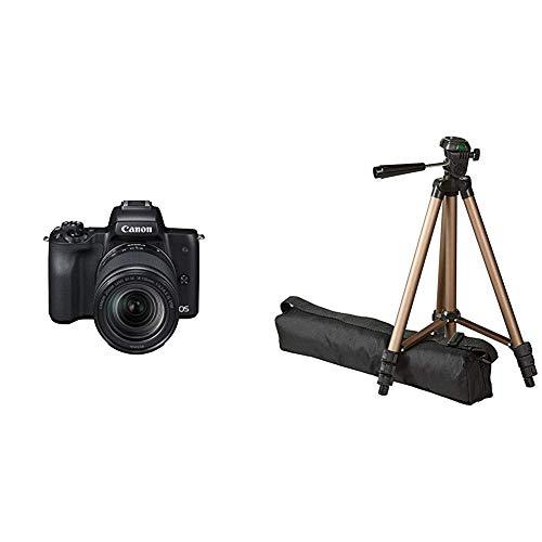 Canon EOS M50 spiegellos Systemkamera 241 MP dreh und schwenkbares 75 cm 3 Zoll Touchscreen mit Objektiv EF M 18 150mm is STM Amazon Basics Dreibein Stativ 127 cm leicht mit 3 Wege Kopf
