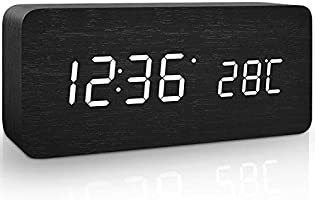 Jcobay Wooden Digital Alarm Clock Battery Operated Simple Silent LED Alarm Clocks Bedside Non Tick Electric Desk Clock...