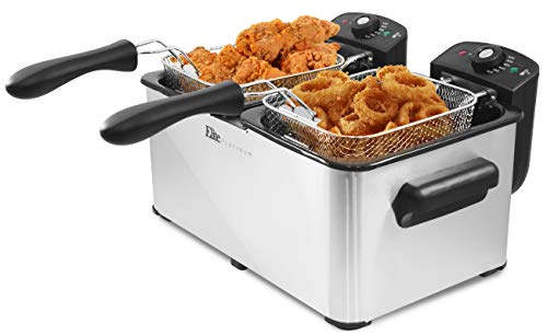 Elite Gourmet Maxi-Matic Dual Basket Electric Deep Fryer, 8 quart, Stainless Steel