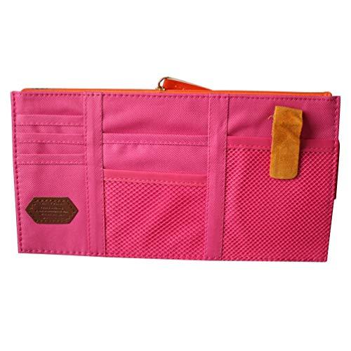 Wakauto CD DVD solskärm organiseringshållare avtagbar bil auto flerfunktionell väska (rosenröd med slumpmässig färg dragkedja)