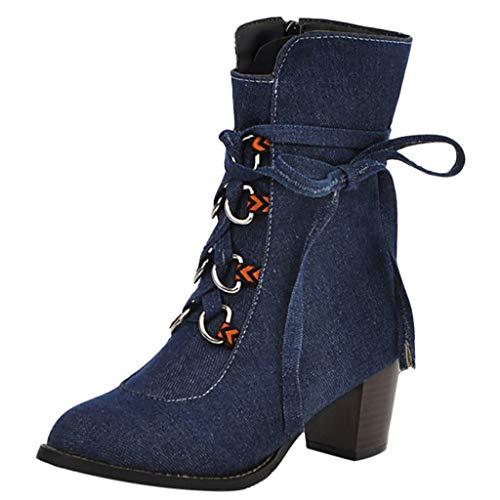 Dorical Cowboy Boots für Damen/Frauen Stiefel Chunkyrayan Stiefeletten mit Blockabsatz Western Biker Boots Denimoptik Schlupfstiefel Reitstiefel Damenstiefel Gr 35-43(Blau,37 EU)