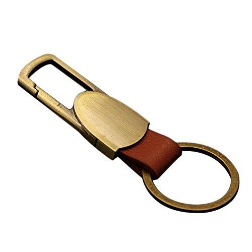 Weimay Massiver Metall-Schlüsselanhänger mit Lederhalter., Lederjacke, Gold 80