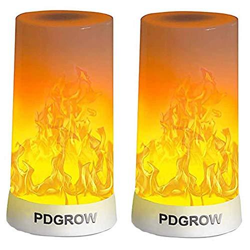LED flameffekt lampa 2 set, PDGROW brandeffekt nattlampa skrivbord/bordslampa USB uppladdningsbar, upp och ned-effekt, vattentät med magnetisk bas och metallkrok för jul, fest, inomhus/utomhusbruk
