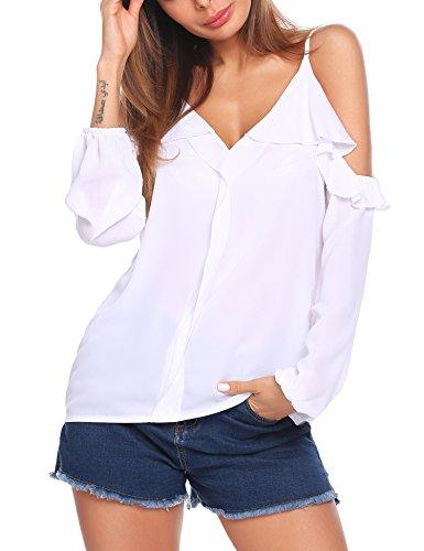 Parabler Damen Schulterfrei Chiffon Bluse V-Ausschnitt Cut Out Loose Fit Top T-Shirt EU 40 (Herstellergröße: L) Weiß