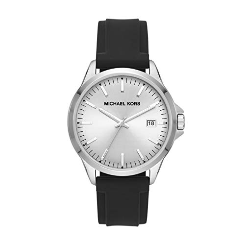 Michael Kors Men's Penn Stainless Steel Quartz Watch with Silicone Strap, Black, 22 (Model: MK7070)