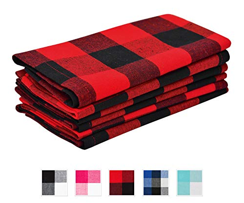 Servilletas algodón - Servilletas cuadros rojos negros
