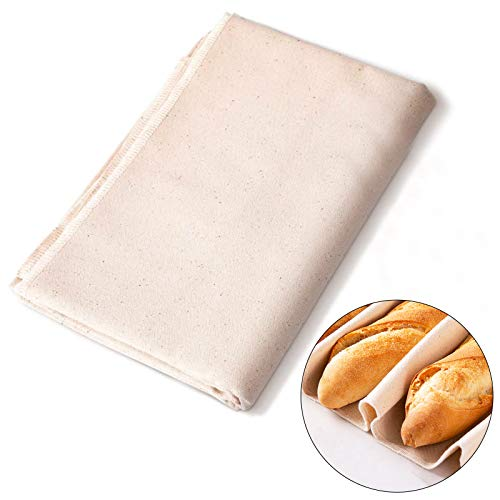 HO2NLE Professionelles Bäckerleinen Gärtuch Unbehandelten Natur Backtuch Leinen Teigtuch Leinentuch für Brot Backen Baguette Brotteig Küche 77x 45 cm